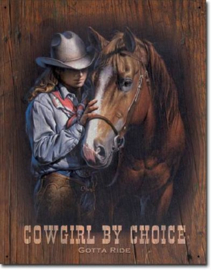 Cowgirl by choice Metalen wandbord 31,5 x 40,5 cm.