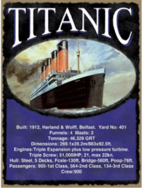 Titanic - 1912  Metalen wandbord 30 x 40 cm.
