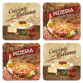 Pizzeria.  Onderzetters 9 x 9 cm.  4 stuks.