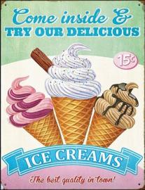 Delicious Ice Creams! Metalen wandbord 30 x 41 cm.