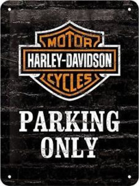 Harley Davidson Parking Only  Metalen wandbord in reliëf 15x20 cm