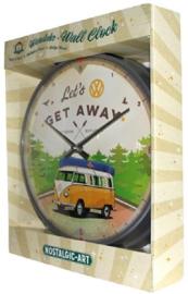 VW Bulli Let's Get Away. Wandklok Ø 31 cm.
