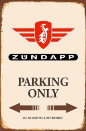 Zundapp Parking Only Metalen wandbord 20 x 30 cm.