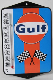 Gulf.  Emaille thermometer met oren.
