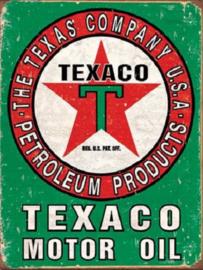 Texaco Motor Oil Metalen wandbord 31,5 x 40,5 cm.
