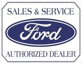 Ford Sales & Service Metalen wandbord 31,5 x 40,5 cm.