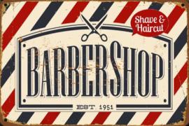 Barber Shop Est 1951 Metalen wandbord 30 x 40 cm.
