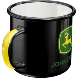 John Deere Black Emaille Drinkbeker
