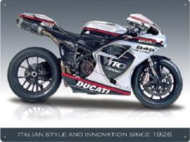 Ducati 848. Metalen wandbord 30 x 40 cm.