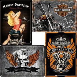 Harley-Davidson 4 Metalen Postcards 10 x 14 cm.