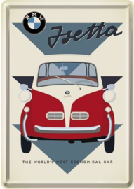 BMW Isetta Metalen Postcard 10  x 14 cm.