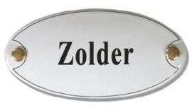 Zolder Emaille Naambordje 10 x 5 cm Ovaal