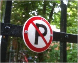 Verboden te parkeren Emaille bordje ⌀ 10 cm.