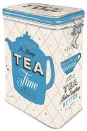 Tea Time Bewaarblik met clipsluiting.