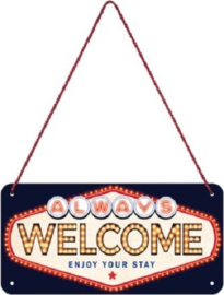 Welcome enjoy your stay.  Metalen wandbord in reliëf 10 x 20 cm.