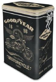 Goodyear Motorcycle Bewaarblik met clipsluiting.