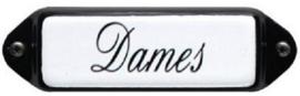 Dames (4) Emaille bordje met oor 8 x 3 cm.