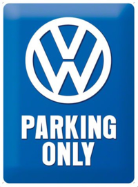VW Parking Only  Metalen wandbord in reliëf 15x20 cm