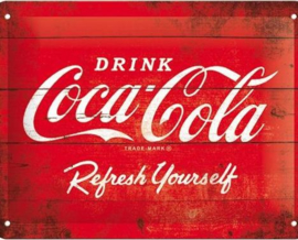 Coca Cola Refresh Yourself.   Metalen wandbord in reliëf 15 x 20 cm.