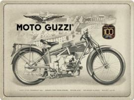 Moto Guzzi  100 Years Anniversary SE. Metalen wandbord in reliëf 30 x 40 cm .
