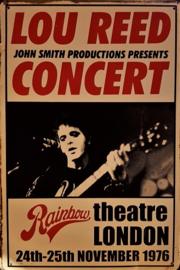 Lou Reed Concert 1976.  Metalen wandbord  20 x 30 cm.