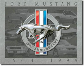 Ford Mustang 35 Th Anniversary Metalen wandbord 31,5 cm  x 40,5 cm..
