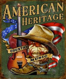 American Heritage Country Music. Metalen wandbord 31,5 x 40,5 cm.