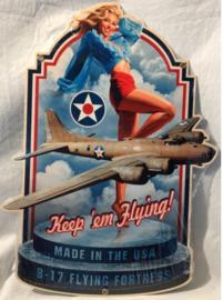 Keep ém Flying! Stalen wandbord 46 cm x 32 cm .