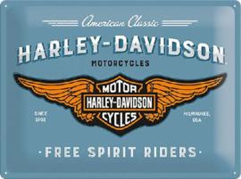 Harley Davidson Blue logo Metalen wandbord in reliëf 30 x 40 cm .
