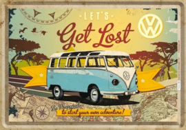VW Bulli Let's Get Lost Metalen Postcard 10 x 14 cm.