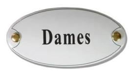 Dames Emaille Naambordje 10 x 5 cm Ovaal