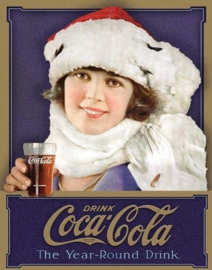 Coca Cola Winter Girl.  Metalen wandbord 31,5 x 40,5 cm.