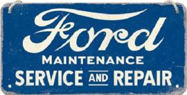 Ford - Service & Repair. Metalen wandbord 10 x 20 cm.