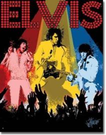 Elvis Las Vegas Metalen wandbord 31,5 x 40,5 cm.
