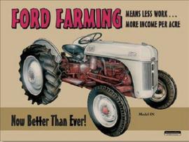 Ford Farming 8N Metalen wandbord 31,5 x 40,5 cm.