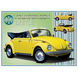 VW Beetle cabrio geel .   Metalen wandbord 41 x 30 cm