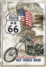 Route 66 Old Trails Road  Metalen Postcard 10 x 14 cm.