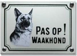 Pas op Waakhond Herdershond Emaille bordje 14 x 10 cm.