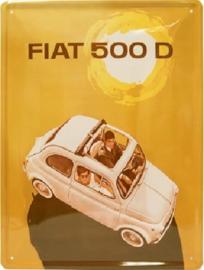 Fiat 500 D Metalen wandbord 30 x 40 cm.