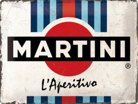 Martini - L'Aperitivo Racing Stripes. Metalen wandbord in reliëf 30 x 40 cm.