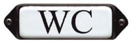 WC (3) Emaille bordje met oor 8 x 3 cm.