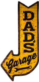 Dad's Garage Pijl.  Metalen wandbord in reliëf  60 x 30 cm.