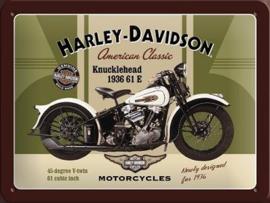 Harley Davidson Knucklehead 1936 Metalen wandbord in reliëf  15 x 20 cm.