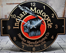 Emaille klok Indian Motocycle.