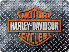 Harley-Davidson - Diamond Plate Metalen wandbord in reliëf 15 x 20 cm.