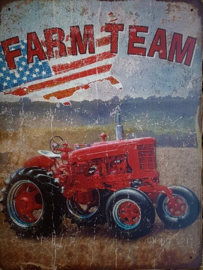 Farm Team.   Metalen wandbord 30 x 40 cm