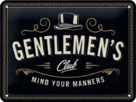 Gentlemen's Club  Metalen wandbord in reliëf 15 x 20 cm.
