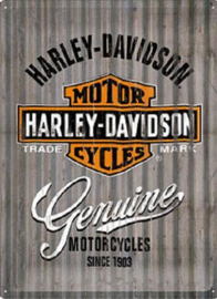 Harley Davidson Genuine Golfplaat look Metalen wandbord in reliëf 30 x 40 cm