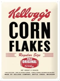 Kellogg's Corn Flakes Retro Package. Metalen wandbord in reliëf 30 x 40 cm .