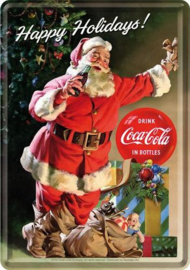 Coca Cola Happy Holidays Metalen Postcard 10 x 14 cm